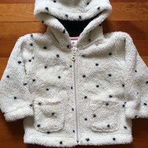 Hanna Anderson white dot fleece jacket 80 2T